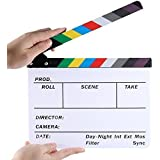 TaiChuDa ® Professional Studio Camera Photography Video Acrylic Dry Erase Director Film Clapboard Clapperboard (9.85x11.8 inch) with Color Sticks