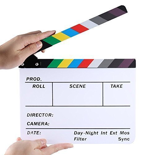 Professional Studio Camera Photography Video Acrylic Dry Erase Director Film Clapboard Clapperboard (9.85x11.8 inch) with Color Sticks
