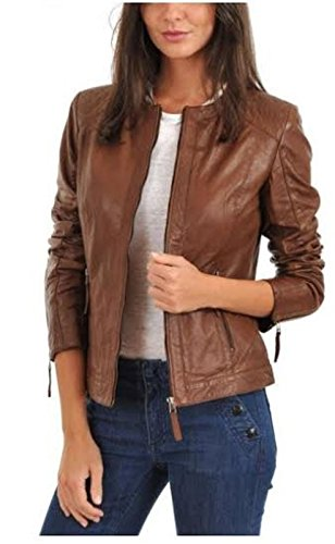 Lambskin Leather Womens Genuine Motorcycle Leather Jacket-Medium