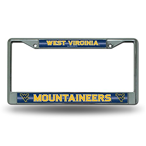 (NCAA West Virginia Mountaineers Bling Chrome License Plate Frame with Glitter Accent)