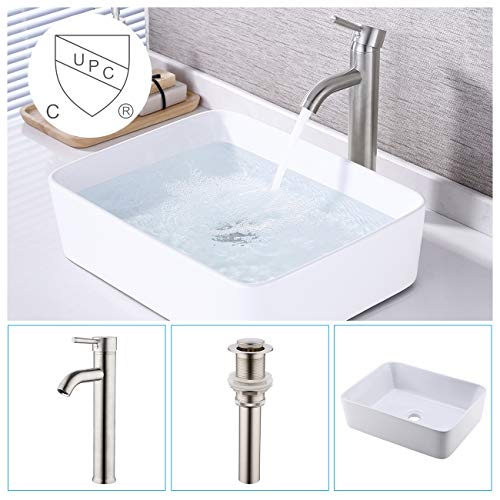 - KES Bathroom Vessel Sink and Faucet Combo Bathroom Rectangular White Ceramic Porcelain Counter Top Vanity Bowl Sink Brushed Nickel Faucet, BVS110-C2