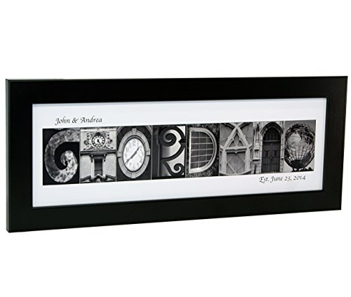 Personalized Name in Black and White Architecture From Original Alphabet Photograph Letters for Personalized Gift, Anniversary, Baby Name (Black Frame)