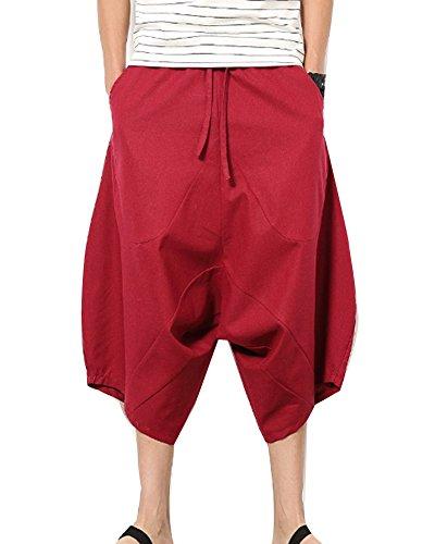 Rosso Uomo Cavallo Eleganti Pantaloncini Basso Di Pantaloni Pinocchietti Vino Lino Casual Larghi Pantalone Ew7TFqX