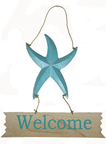 Hand Carved Wooden STARFISH WELCOME Cocktails Drinking Beach Tropical Island Sign