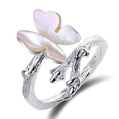 (Lotus Fun S925 Sterling Silver Rings Cute Butterfly on Branch Open Ring with Natural Shell Handmade Jewelry Unique Gift for Women and Girls (B. White))