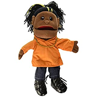 """Sunny Toys 14"""" Ethnic Yarn Haired Girl In Orange Top Glove Puppet"""