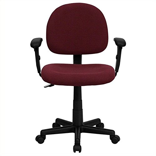 Flash Furniture Mid-Back Burgundy Fabric Swivel Task Chair with Adjustable Arms