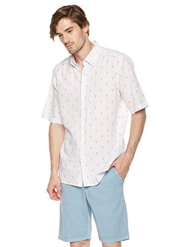 Isle Bay Linens Men's Slim Fit Short Sleeve Toile Vintage Printed Linen Cotton Lightweight Button-Down Hawaiian Casual Shirt