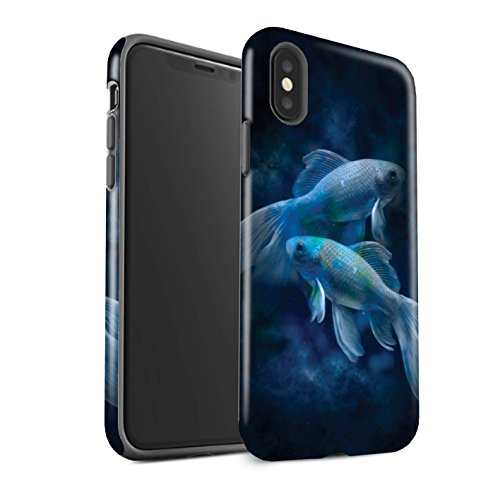 STUFF4 Gloss Tough Shock Proof Phone Case for Apple iPhone X/10 / Pisces/Fish Design / Zodiac Star Sign Collection - Fish Hardback