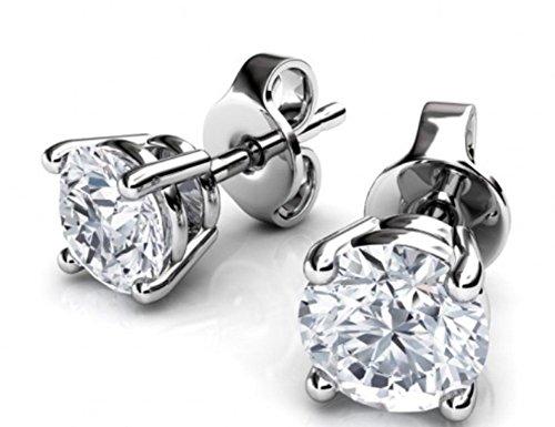 Genuine Luxurious 1 Cttw Solitaire Diamond (G-H,I1-I2) Earrings In 14K White Gold