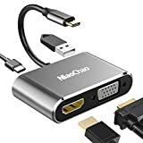USB C to 4K HDMI VGA Adapter,NiaoChao 4-in-1 Type C Hub with USB 3.0 Charging Power PD Port Compatible for Nintendo Switch/MacBook Pro/iPad Pro/Samsung Galaxy/Dell XPS
