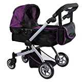 Babyboo Deluxe Doll Pram Color PURPLE & BLACK with Swiveling Wheels & Adjustable Handle and Free Carriage Bag - 9651B PRP