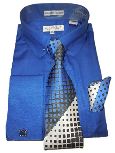 Karl Knox SX4404 Mens Bright Royal Blue Round Eyelet Collar French Cuff Woven-Look Dress Shirt + Silver Tie Set (2XL 18.5 Collar 36/37 Sleeve)