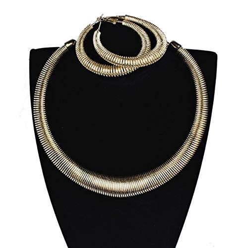V-Moni European And American Fashion Multi-Layer Alloy Collar Earrings Exaggerated Big Earrings Metal Texture Necklace Earrings Set Gold
