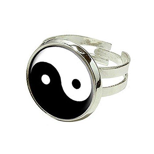 Yin Yang Symbol - Silver Plated Adjustable Novelty Ring