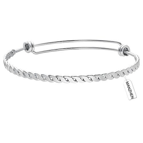 Twist Wire Bracelet (MANZHEN Simple Adjustable Flat Twist Bangle Bracelet Expandable Wire Bangle for Women (silver))