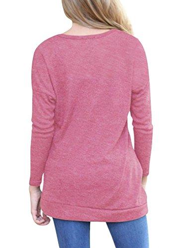 FRYS chemise femme chic soiree pull femme hiver fashion manteau femme grande taille Printemps vetement femme pas cher mode blouse femme manche longue casual chemisier top t-shirt Rose