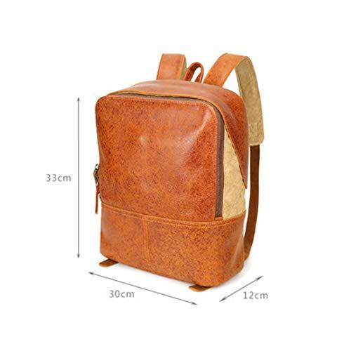 Scuola Brown Leather Light Backpack Crazy College Bookbag Brown Vintage Klerokoh color Genuine Horse qwf7RxYS