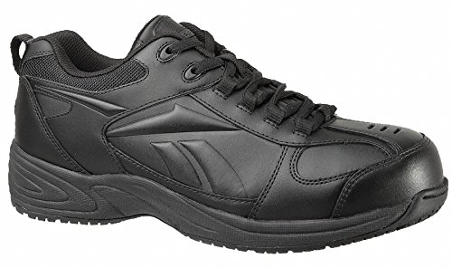 Mens Athletic Style Work Shoes, Composite Toe Type, Leather Upper Material, Black, Size 8-1/2M - 1 Each