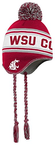 (NCAA by Outerstuff NCAA Washington State Cougars Toddler Jacquard Tassel Knit Hat w/ Pom, Victory Red, Toddler One Size)