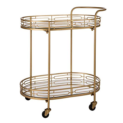Glass Top Serving Cart - Glitzhome 2-Tier Deluxe Metal Bar Cart Oval Mirrored Glass Top Serving Cart, Gold, 30