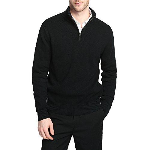 CHAUDER Men's Relax Fit YKK Quarter Zip Mock Neck Wool Cotton Sweater Pullover with YKK Zipper (L, Black) (Mock Quarter Zip Sweater)
