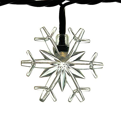 ALEKO EL50LEDSNOW 50 LED WHITE SNOWFLAKE STRING LIGHT CHRISTMAS LIGHT 16 FEET