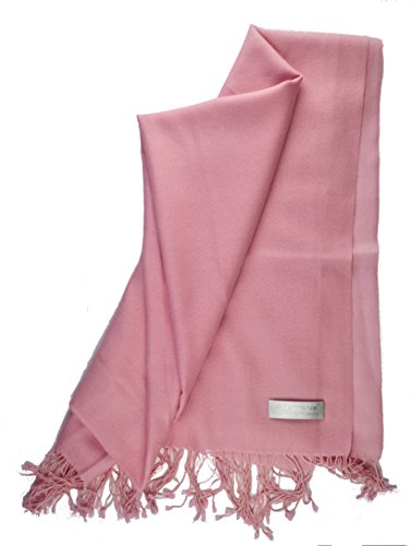(Solid Oversized 100% Cashmere Lightweight Shawl Scarf Travel Wrap Stole with Gift Box (Pink))