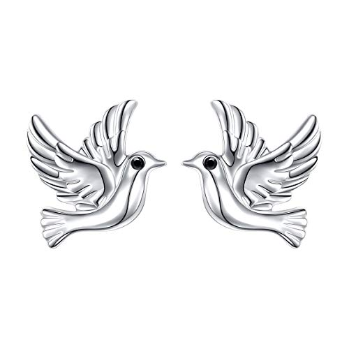S925 Sterling Silver Doves Birds Faith Hope Love Stud Earrings for Women Girls