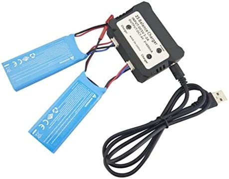 2 baterías de litio de 7,6 V 750 mAh con cargador 2 en 1 para dron ...