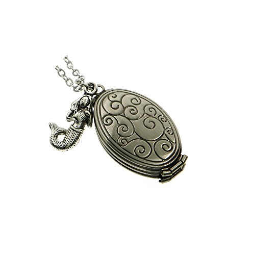 Ms.Iconic Four Fold Antiqued Silver Mermaid Charm Oval Sea Wave Engraved Photo Locket Pendant Charm Necklace Long -