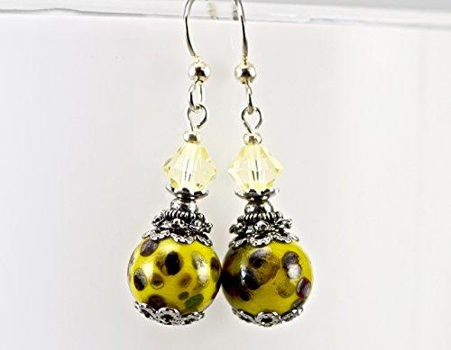Dark Yellow Lampwork Glass Spots Swarovski Crystals Silver Earrings - Glass Lampwork Spots Bead