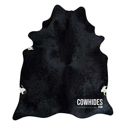 Natural Cowhide Area Rugs Solid Black (Large – 6.5 FT x 7.5 FT)