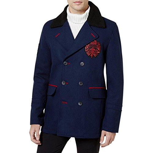 INC Mens Double-Breasted Embroidered Top Coat Navy ()