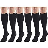 Compression Socks, 30-40 mmHg, Men's Dress Socks, Knee High Over Calf Length Black Large (6 Pairs)