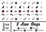 I Love Dogs Waterslide Nail Decals - 50pc