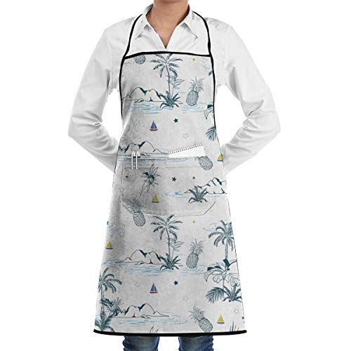 Maui Hawaiian Pattern Full Length Bistro Apron Adjustable Kitchen Cooking Aprons, Front Pocket, 28 X 20 Inches (Bistro Maui)
