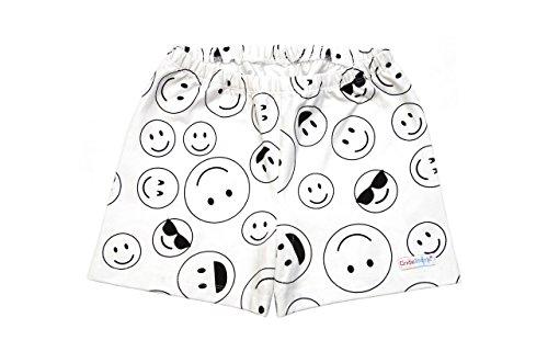 (Big Girls All in One Under Shorts - Smiley Emoji on White -)