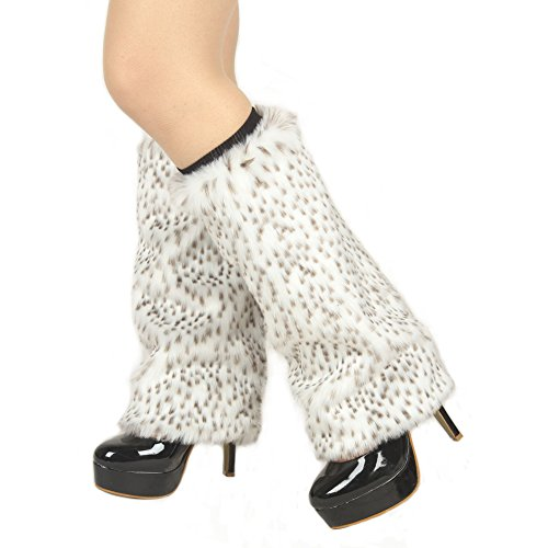 (Ibeauti Womens Furry Leg Warmers Super Soft Rainbow Boots Shoes Cuffs Covers (Medium: Length: 15.4