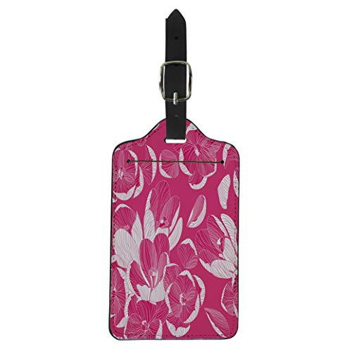 Tinmun Luggage Tag Crocus Monochrome Floral Lines Pink Colors Cute Spring Flowers Suitcase Baggage Label Travel Tag Labels ()