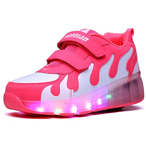 Ufatansy Uforme Kids Adults LED Shoes Light Up Wheels Roller Skates Flashing Fashion Sneakers Unisex (4.5 M US =CN37, Watermelon Red+White)