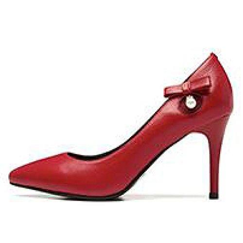 Femme Noir Haute Talons Mode Sexy Travail Cour Chaussures Chaussures De Mariage en Cuir Bowknot Chaussures Partie Discothèque,Red-8.5cm-EU:38/UK:5.5