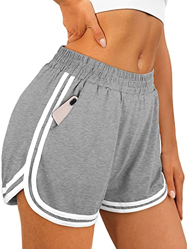 OFEEFAN Womens Athletic Shorts with Pockets Workout Running Summer Lounge Dolphin Shorts