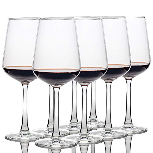 12-oz Set of 8 Red White Wine Glasses, Wedding Party Drinkware, Fantastic Clear Wine Cups
