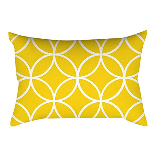❤️Ywoow❤️, Pineapple Leaf Yellow Pillow Case Sofa Car Waist Throw Cushion Cover Home Decor ()