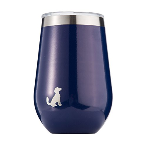 Pittsford Outfitters 12oz Wine Tumbler With Lid   18/8 Stainless Steel, Double Walled, Vacuum Insulated Stemless Portable Wine Glasses. Great for Travel, Outdoors, Coffee too. (Blue)