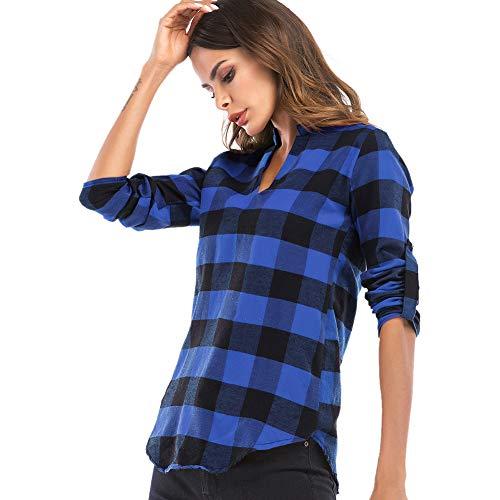 Hauts Shirt Loose Longues Carreaux Col Casual Femme Chemise Longue Blouse Manches Bleu V HaSwPnq
