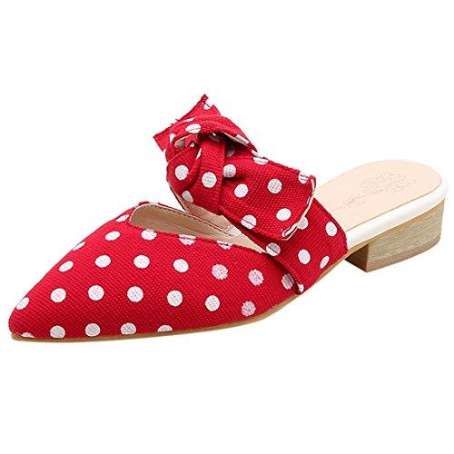 Artfaerie Women's Polka Dot Mules Slippers Flat Pointed Toe Slingback Cute Sandals Bows - Red Polka Sandals Dot