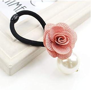 HeyBro Rose Fleur Cheveux Corde Bande de Caoutchouc Perle Cheveux Bague Cheveux Accessoires pour Femme (Rose)