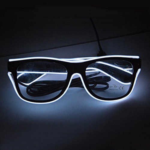 YIYIDANGSHI El Wire Glowing Wireless Glasses, LED Glasses Bulk Cold Light Glasses for Party